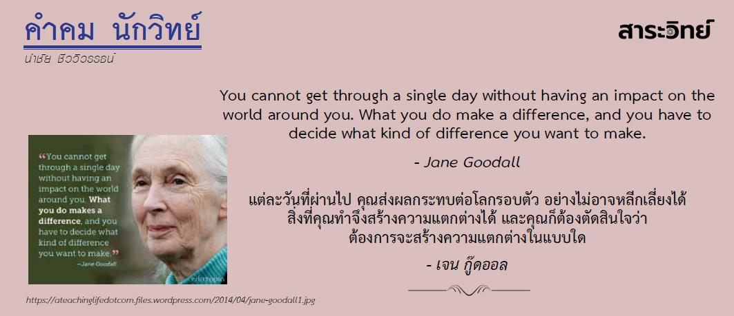 คำคม นักวิทย์: เจน กู๊ดออล